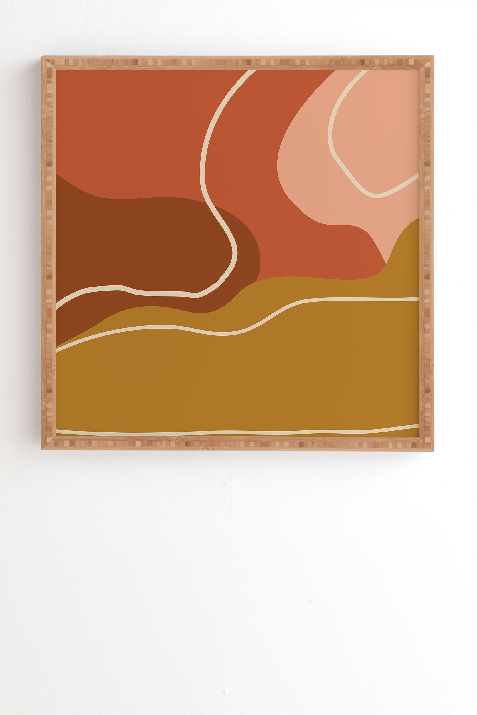 """Abstract Organic Shapes In Zen by June Journal - Framed Wall Art Bamboo 8"""" x 9.5"""""""
