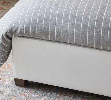 York Slope Wing Upholstered Headboard and Side Storage Platform Bed, King, Performance Heathered Basketweave Platinum