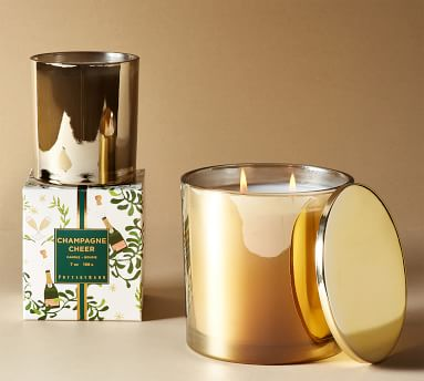 Champagne Cheer Scented Candle, Gold, Large with Lid, 24 oz.