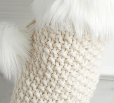 Knit Stocking with Faux Fur Trim, Ivory - Medium