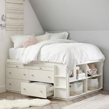 west elm x pbt Modernist Captain's Bed, Full, White/Wintered Wood, In-Home