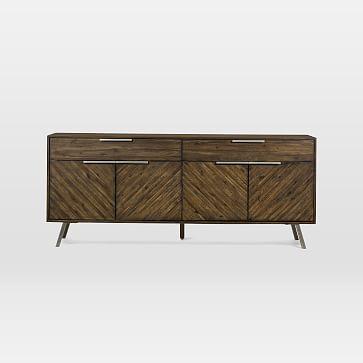 "Parquet Block + Steel Buffet, Acacia Wood, Hazel, 70"""