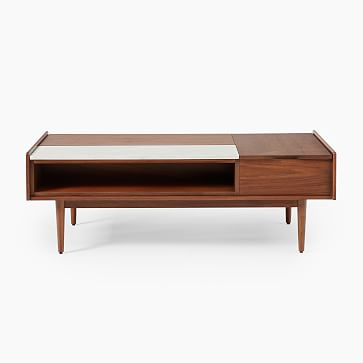 Mid-Century Double Pop-Up Coffee Table, Acorn & White Marble