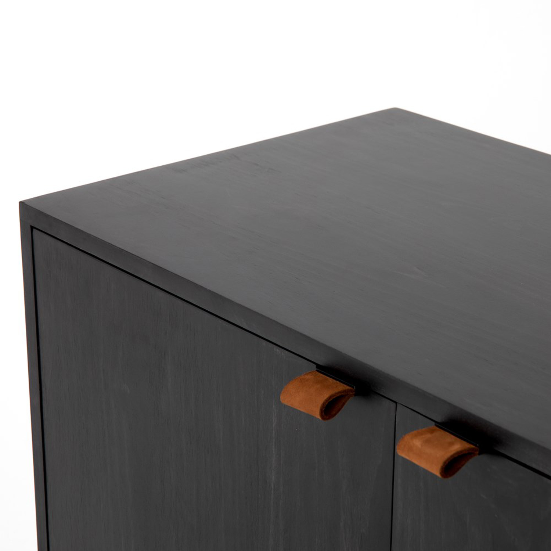 Theodore Industrial Loft Black Wood Iron Sideboard Buffet