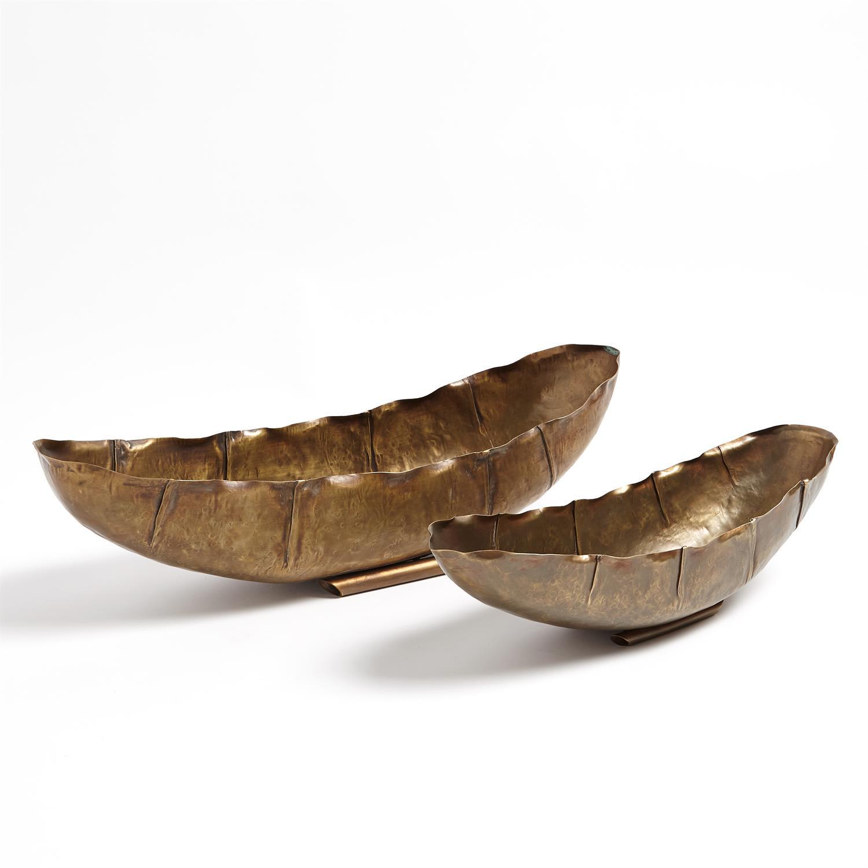 Loreene Modern Classic Antique Brass Oval Decorative Bowl - Large