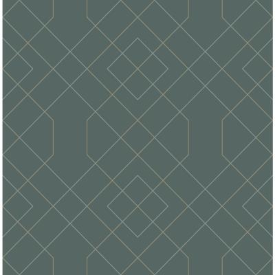 Scott Living Ballard Teal Geometric Strippable Wallpaper Covers 56.4 sq. ft., Blue