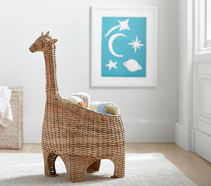 Giraffe Shaped Wicker Basket
