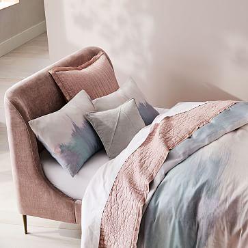 Lana Upholstered Bed, Queen, Distressed Velvet, Light Pink