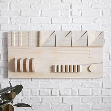 Carved Wood Wall Art, Panel 2, Natural, Wood, Large