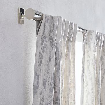 "Bark Texture Jacquard Curtain, Unlined, Pearl Gray, 48""x96"""