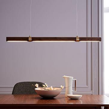 Linear Wood LED Pendant, Walnut