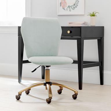 Velvet Airgo Swivel Desk Chair, Lustre Velvet Dusty Blush