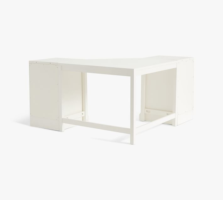 Aubrey Corner Desk with Lateral File Cabinets, Dutch White