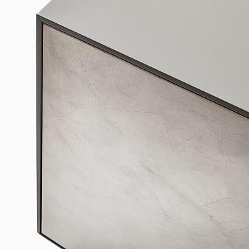 Emilia Metallic Leafed Front Buffet, Gaunetlet Gray, Silver Leaf