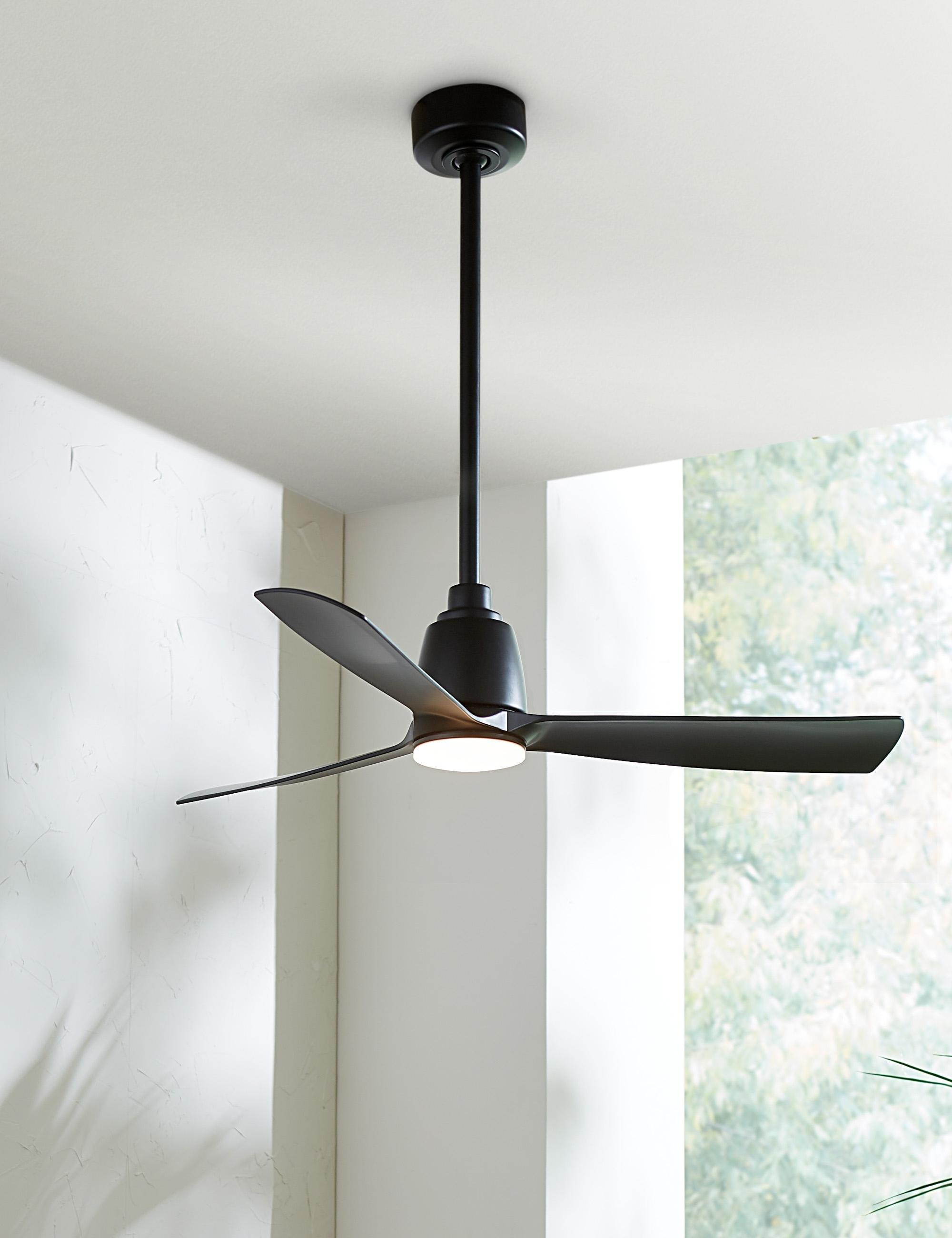"""Cosima Ceiling Fan + Light,  Matte Black 52"""""""