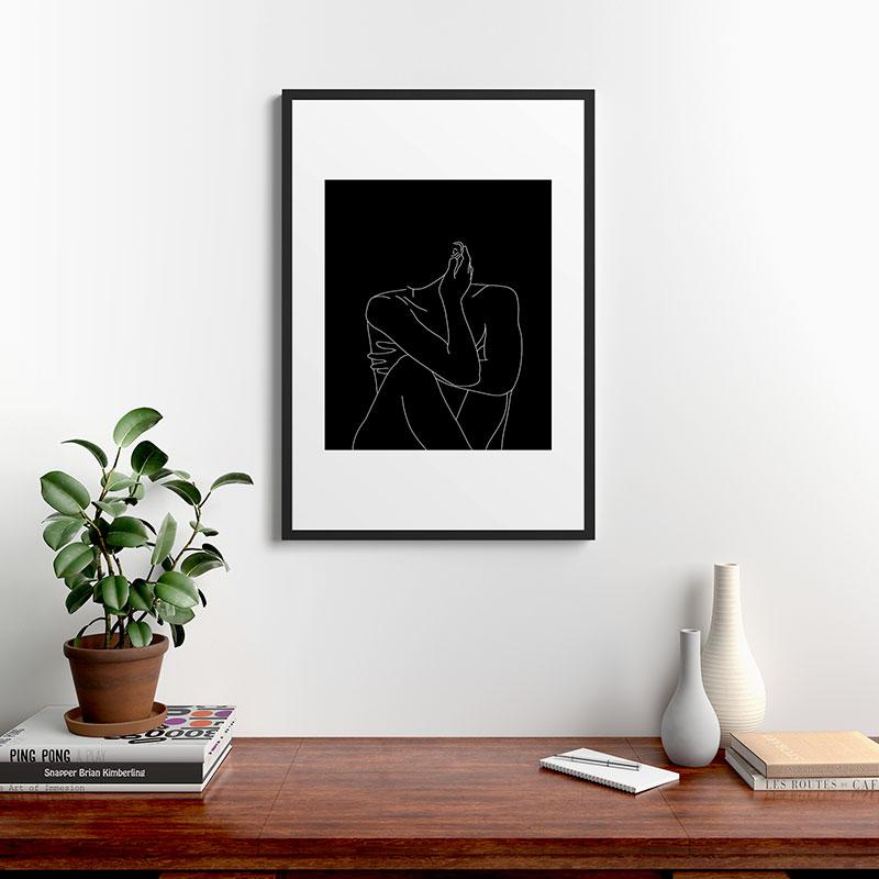 "Nude Figure Illustration Celi by The Colour Study, Modern Framed Art Print, Black, 24"" x 36"""