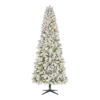 Home Accents Holiday 9 ft. Pre-lit LED Heavy Flocked Wesley Slim Long Needle Artificial Christmas Pine with 550 SureBright Warm White Lights