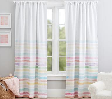 "Kayla Rainbow Stripe Blackout Curtain, 96"", Multi"