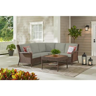 Hampton Bay Cambridge 4-Piece Brown Wicker Outdoor Patio Sectional Sofa and Table with CushionGuard Stone Gray Cushions
