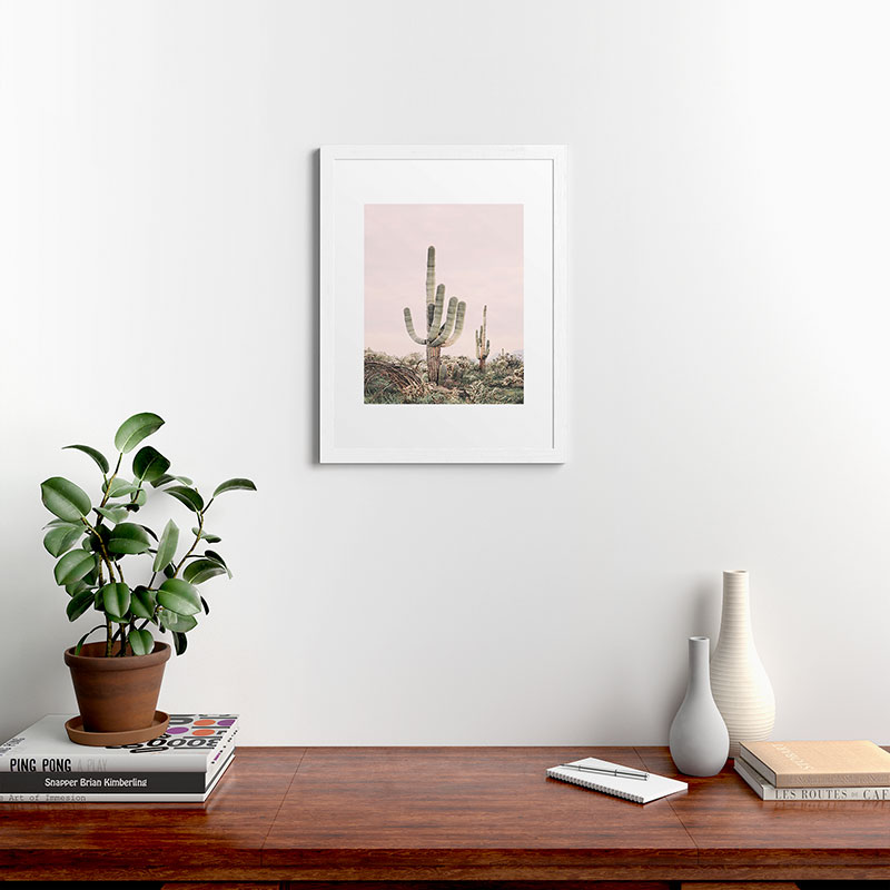 """Pastel Pink Cactus by Sisi and Seb - Classic Framed Art Print White 18"""" x 24"""""""