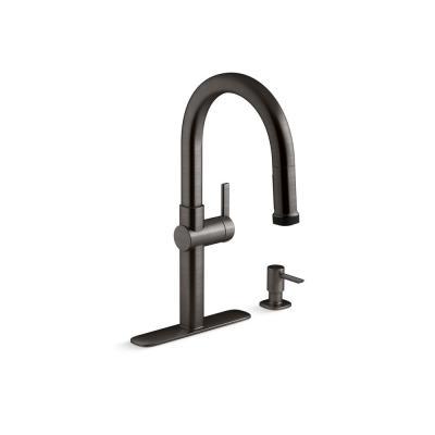 KOHLER Rune Single-Handle Pull-Down Sprayer Kitchen Faucet in Black Stainless