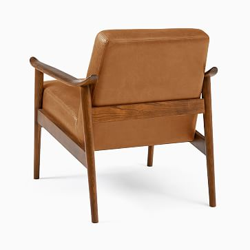 Mid-Century Show Wood Chair, Poly, Vegan Leather, Saddle, Pecan