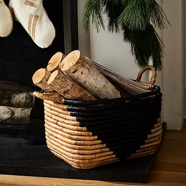"""Two-Tone Seagrass Baskets, Medium Rectangle, 10"""""""