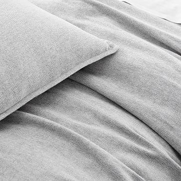 Organic Flannel Herringbone Duvet, Medium Gray, King/Cal. King