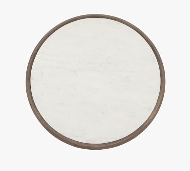 """Dante Reclaimed Wood & Marble Round 39"""" Coffee Table, Ashen Brown"""
