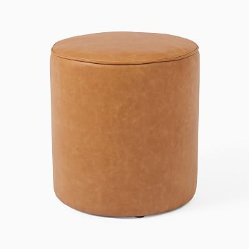 Isla Ottoman, Small, Ludlow Leather, Sesame, Concealed Support