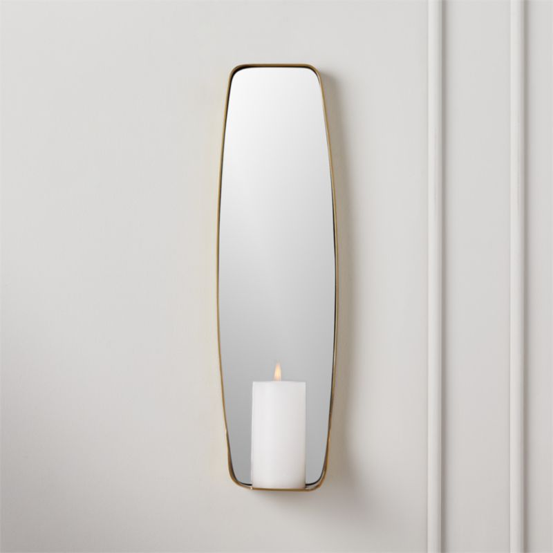 Fling Mirrored Pillar Candle Wall Sconce