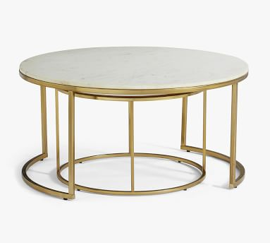 Delaney Round Nesting Coffee Tables, White Marble - Set Of 2