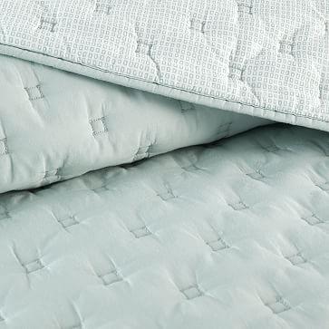 Square Stitch Quilt, Twin, White