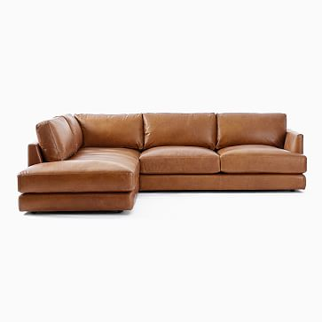 Haven Sectional Set 02: Right Arm Sofa, Left Arm Terminal Chaise, Poly, Saddle Leather, Nut