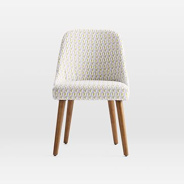 Mid-Century Upholstered Dining Chair, Traveling Dot, Frost Gray Pecan