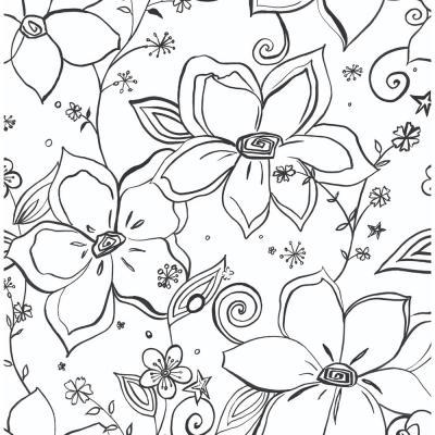 NextWall Black Linework Floral Peel and Stick Wallpaper 30.75 sq. ft.