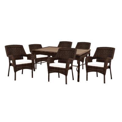 Hampton Bay Cambridge 7-Piece Brown Wicker Outdoor Patio Dining Set with Bare Cushions