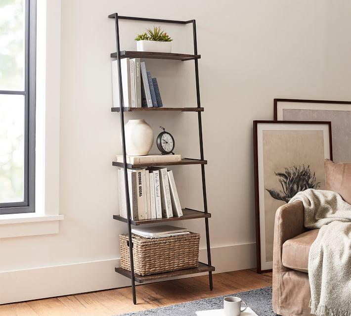 Sanford Ladder Shelf, Cobble Brown Wash