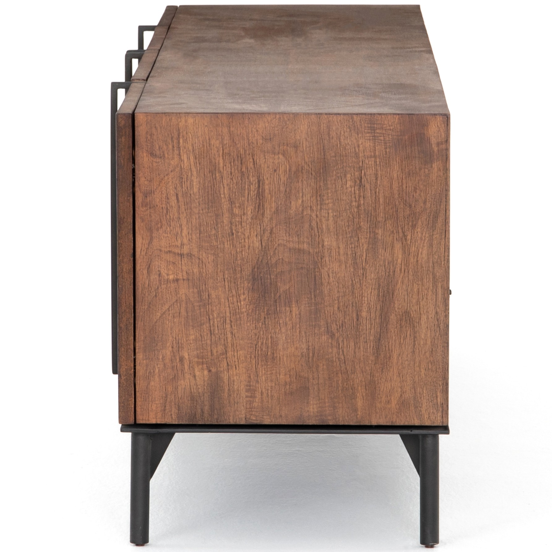 Arya Modern Classic Dark Brown Mango Wood Media Cabinet