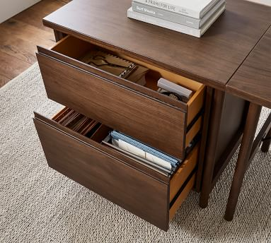Bloomquist Wood L-Shape Desk with Lateral File Cabinet, Warm Dusk