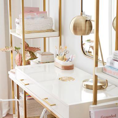 Marble Desk Accessories, Nesting Storage Set, White/Gold