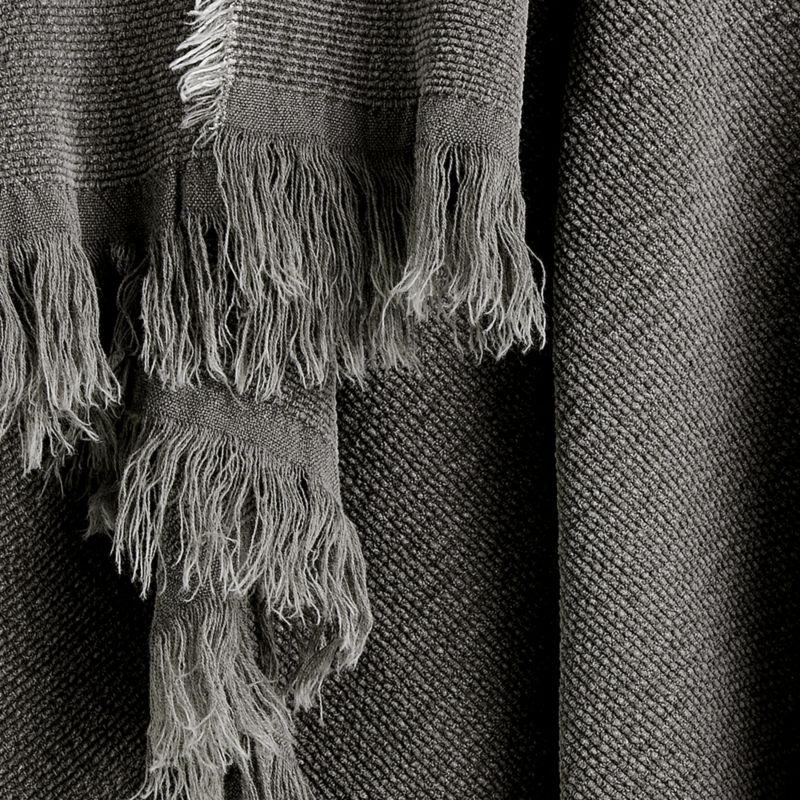 Olind Grey Fringed Throw Blanket