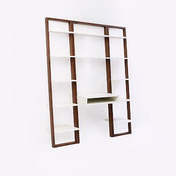 Ladder Shelf Storage Desk Set 1, Wall Desk + 2 Narrow Shelves, Sand/Stone