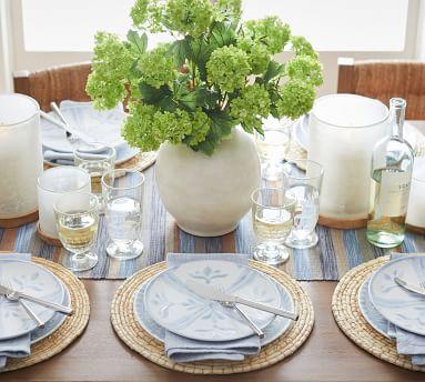 Chambray Tile Stoneware Salad Plates, Set of 4