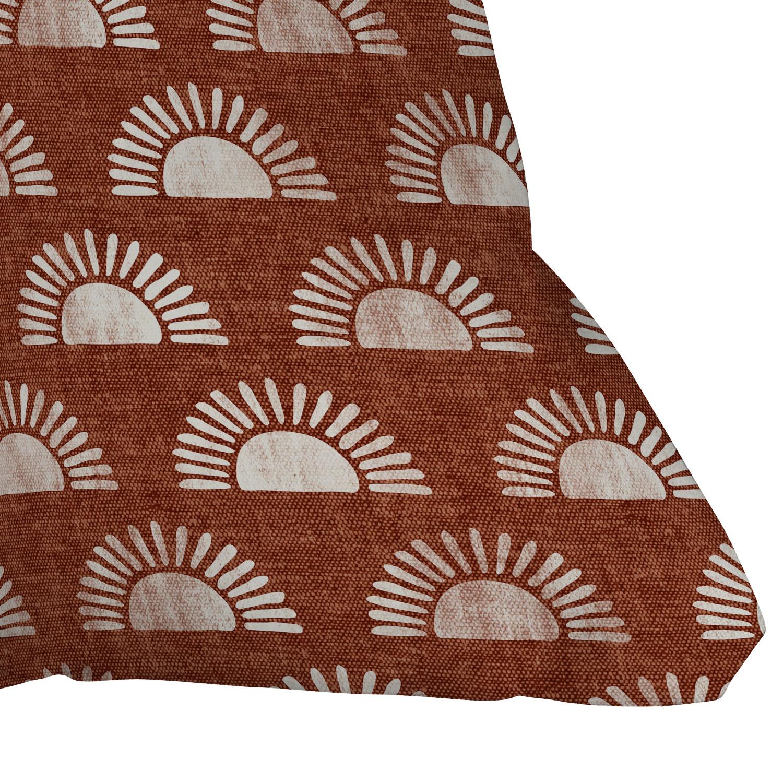 "Block Print Suns On Rust by Little Arrow Design Co - Outdoor Throw Pillow 20"" x 20"""