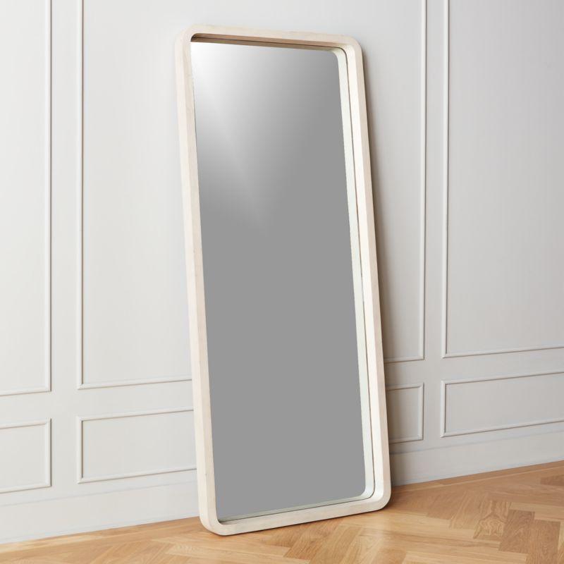Acacia White Wash Floor Mirror