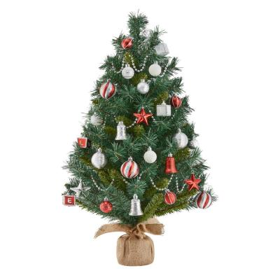 Home Accents Holiday 32 in. PVC Burlap Tree with Ornament Kit (34-Pieces)