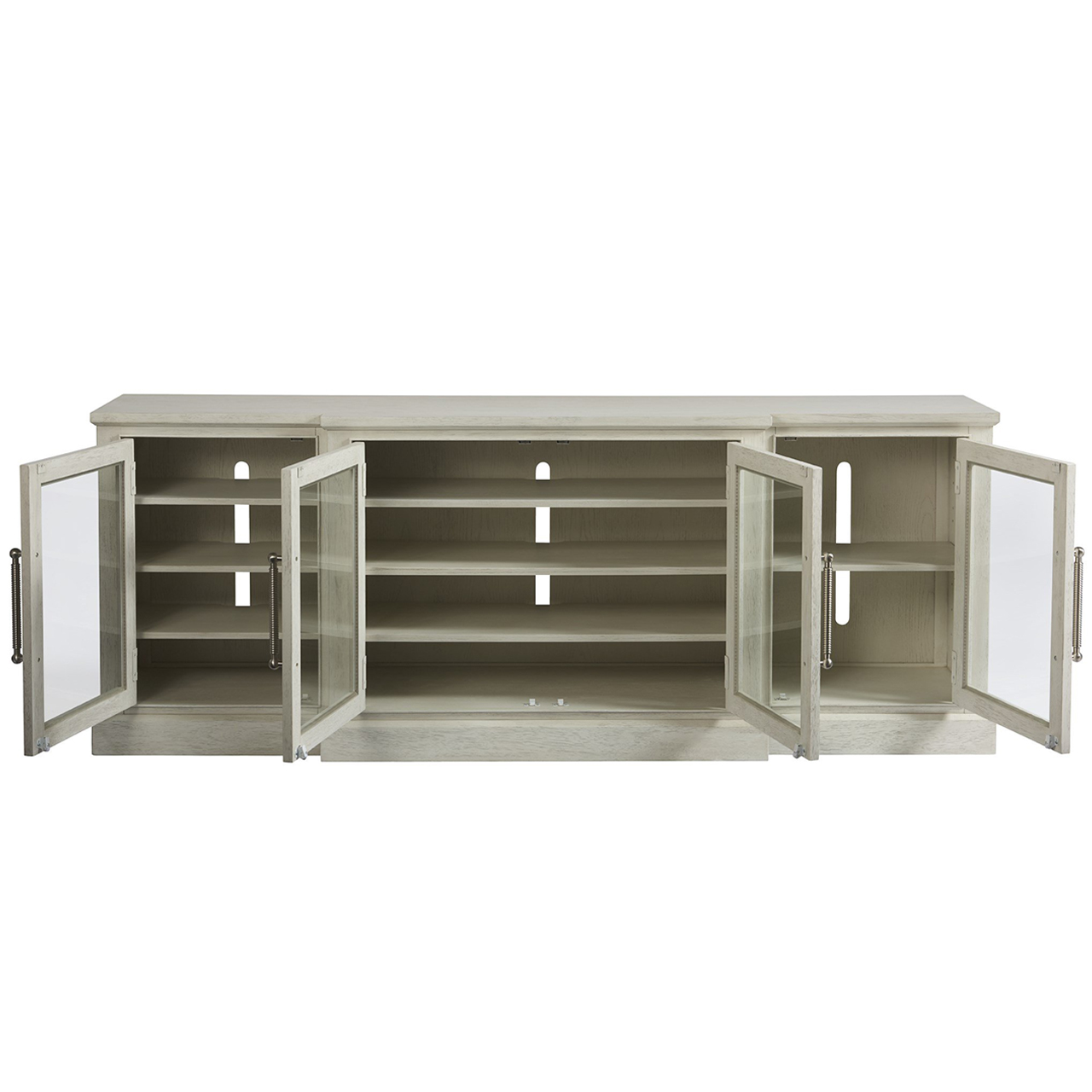 Yareli Coastal Beach White Wood 4 Door Media Cabinet