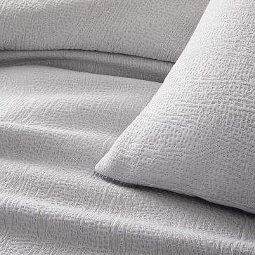 TENCEL Cotton Matelasse Duvet, King, Frost Gray