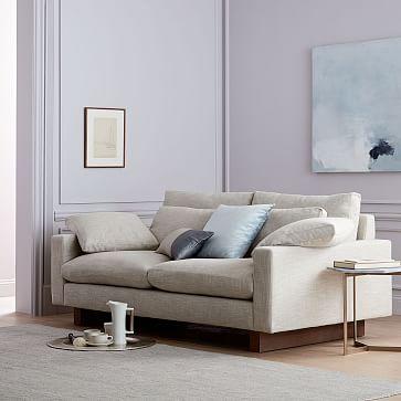 Harmony Sofa, Performance Coastal Linen, Stone White, Dark Walnut
